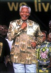 Nelson Mandela clothed in a Pathe'O shirt
