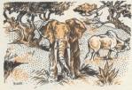L'Elephant et le Boeuf s'en vont, laissant derriere eux l'hyene