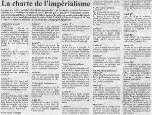 """La charte de l'imperialisme telle publiee dans le journal """"La Nouvelle Expression"""""""