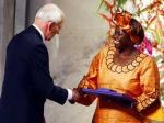 Wangari Maathai receiving the Nobel Peace Prize