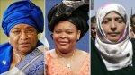 Nobel Peace Prize winners (L to R): Ellen Johnson-Sirleaf, Leymah Gbowee, and Tawakkul Karman