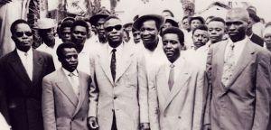 UPC Leaders (L. to R.) front row: Castor Osende Afana, Abel Kingué, Ruben Um Nyobé, Felix Moumié, and Ernest Ouandié