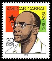 Amilcar Cabral on a stamp with the flag of Guinea Bissau