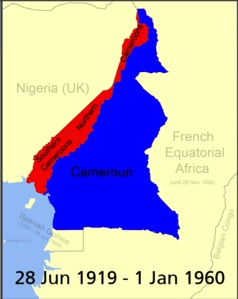 Map of Cameroon from 1919 to 1960, including both Cameroons (French in Blue, and British in red)