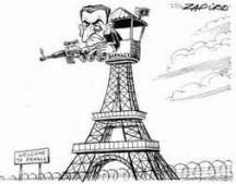 Nicolas Sarkozy, by Zapiro (source Grigrinews.com)