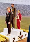 Abebe Bikila on the podium of the 1964 Tokyo Olympics
