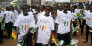 Youths during the parade celebrating Cameroon's National Youth Day