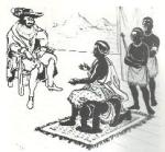 Queen Nzingha sitting on the back of her servant