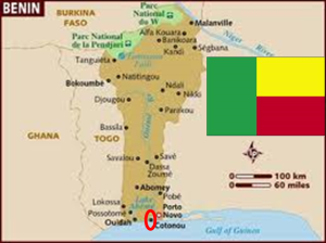 Benin with its map and flag