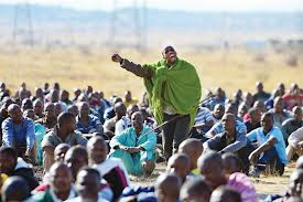 Miners demonstrating at Marikana