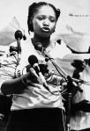 Zindzi Mandela reading her father's refusal to leave prison - 1985