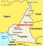Map of Cameroon, with the capital Yaoundé