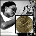 Mrs Dicoh Mariam Konan, first female chemist of Cote d'Ivoire, on the currency with her pipettes