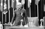 Nehru giving a speech at the Bandung Conference, 1955