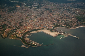 Aerial view of Malabo´s harbour