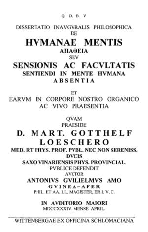 Anton wilhelm amo dissertation