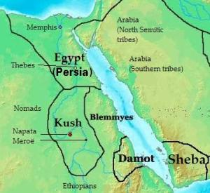 nubia_africa in 400 bc_location of kush