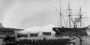 Kamerun_Corvette allemande SMS_OLGA durant la canonnade de Hickorytown on 21 Dec 1884