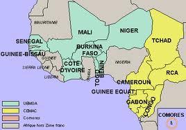 Carte des pays de la zone CFA