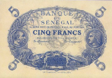 Monnaie_Bank of Senegal 1872